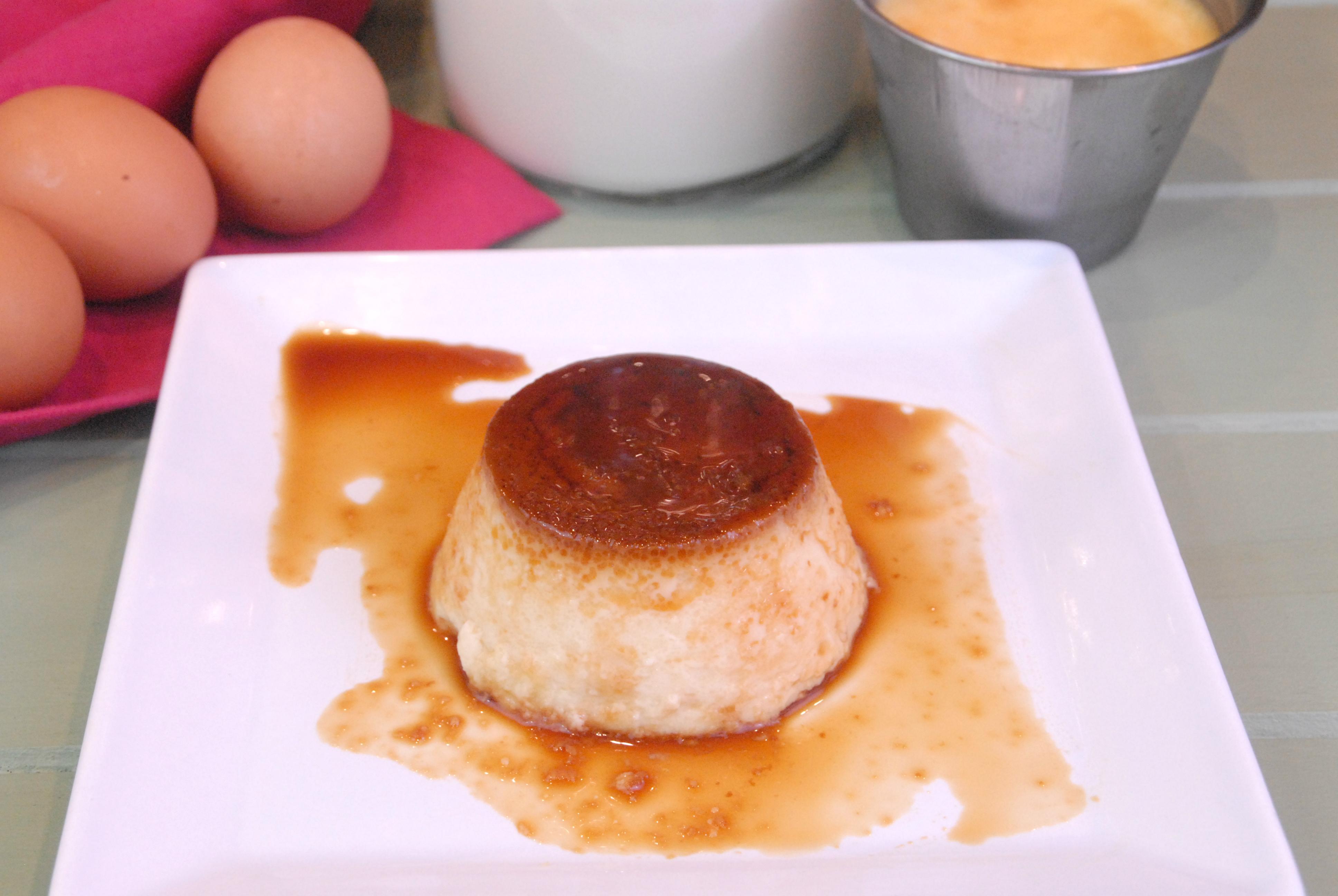 Receta de flan de huevo con leche y nata